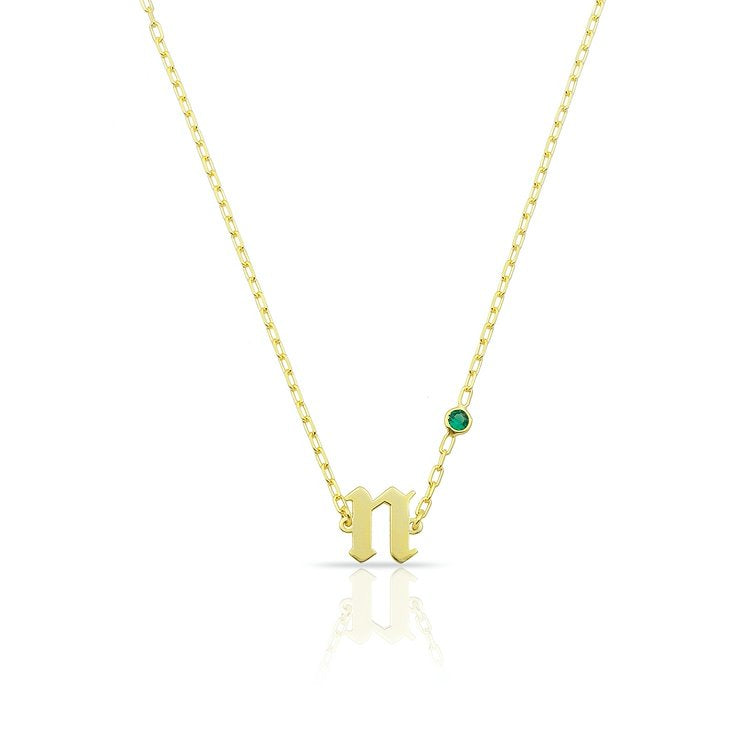 Custom Lowercase Old English Initial with Birthstone JEWELRY The Sis Kiss Gold May - Emerald