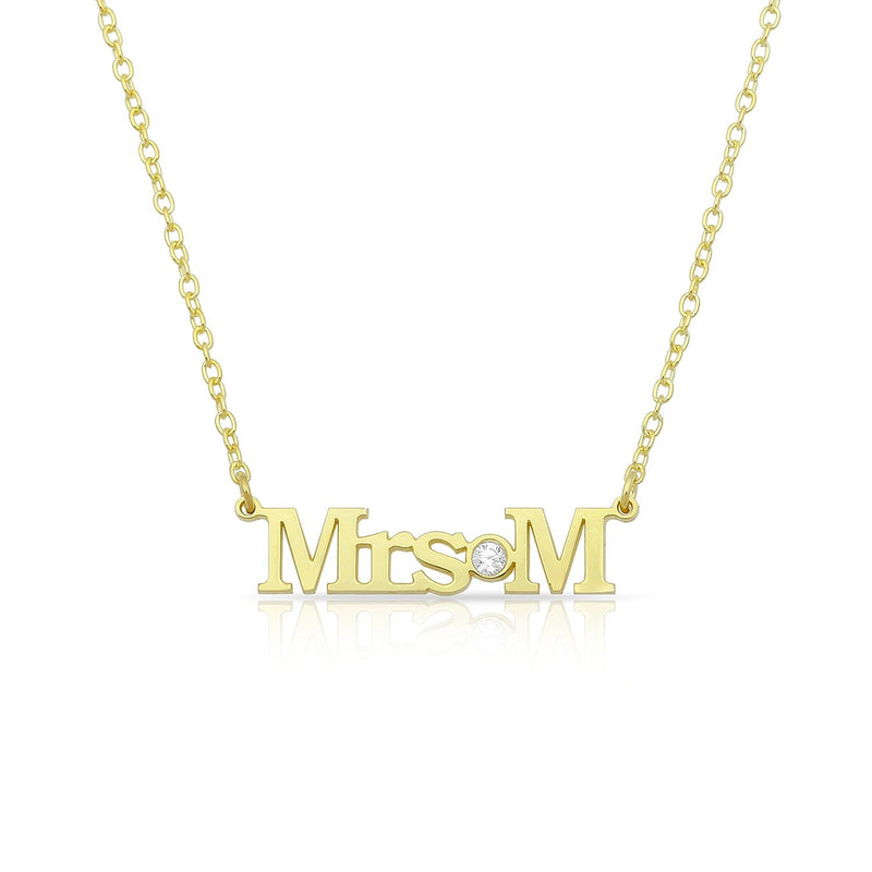 Custom Mrs./Miss./Ms. Necklace JEWELRY The Sis Kiss Mrs. Gold