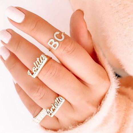 Custom Script Adjustable Ring JEWELRY The Sis Kiss