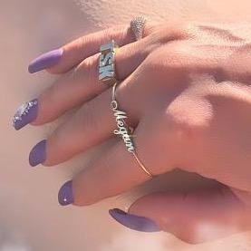 Custom Scripted Double Finger Ring JEWELRY The Sis Kiss