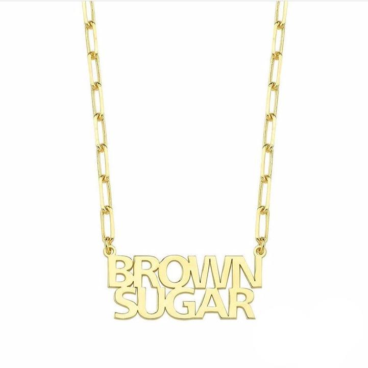 Custom Graphic Nameplate JEWELRY The Sis Kiss Gold