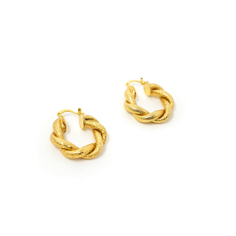 Gold Foil Twist Hoop Earrings JEWELRY The Sis Kiss