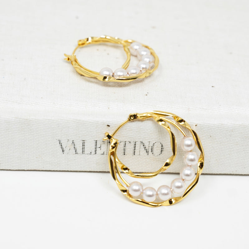 Pearl and Gold Twist Triple Layer Hoops JEWELRY The Sis Kiss