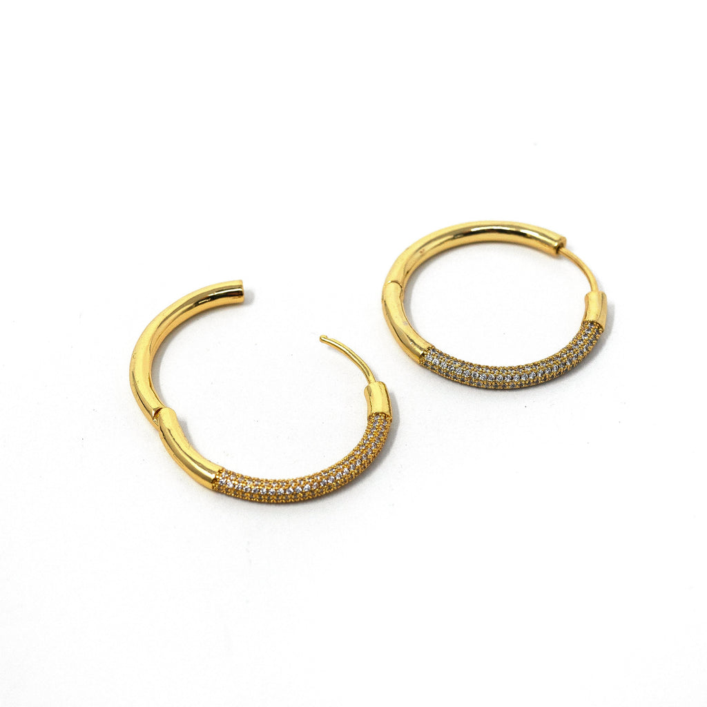 Gold and Crystal Hoop Earrings JEWELRY The Sis Kiss