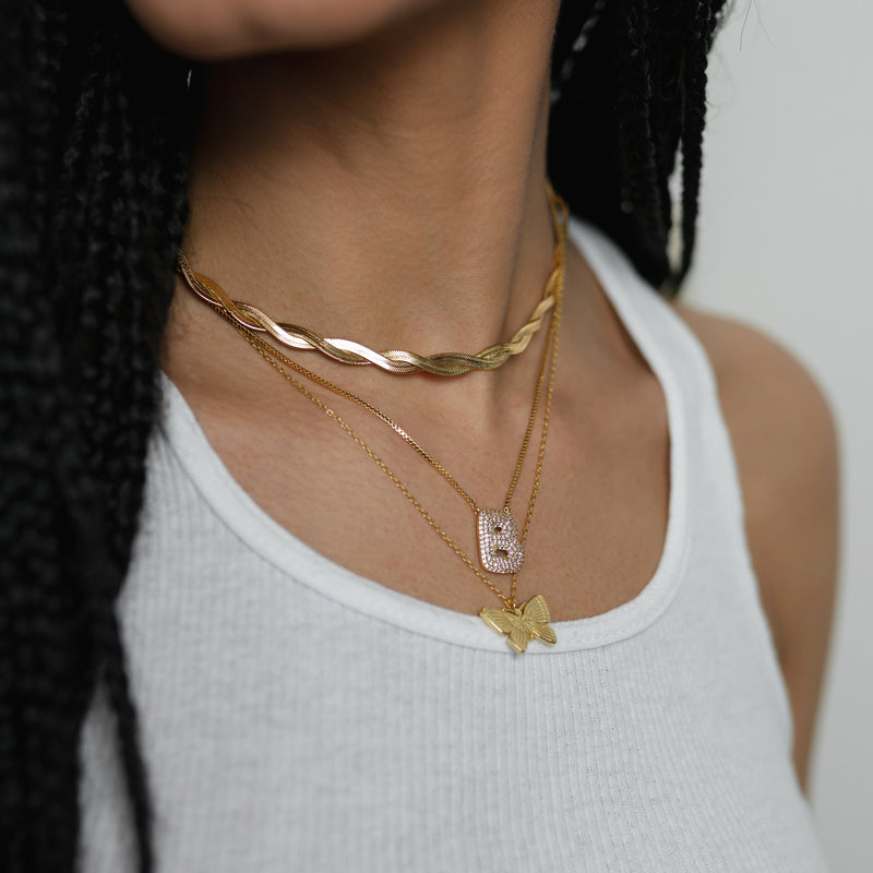 Double Gold Herringbone Twist Choker JEWELRY The Sis Kiss