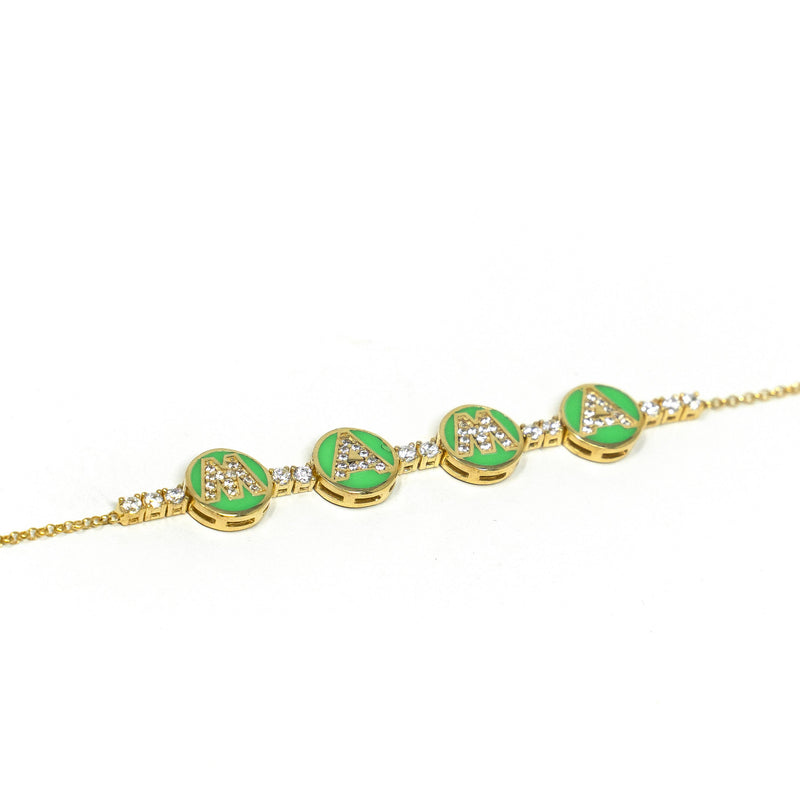 Mama Tennis Bracelet JEWELRY The Sis Kiss Green