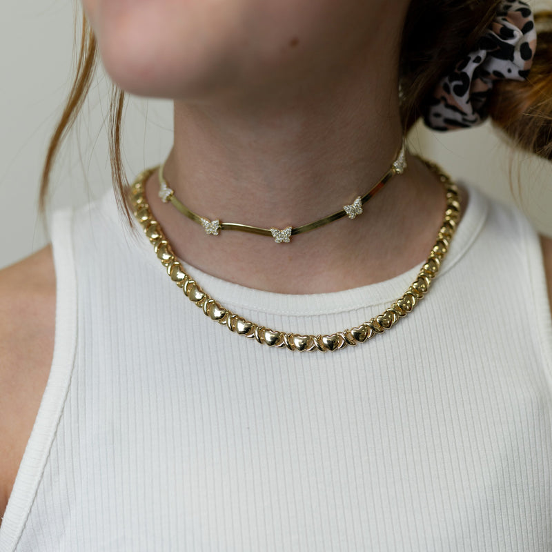 Herringbone Chain and Crystal Butterflies choker JEWELRY The Sis Kiss