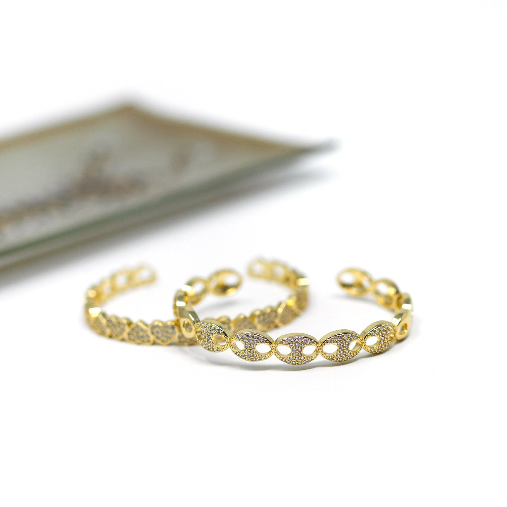 Gold and Crystal Anchor Chain Cuff JEWELRY The Sis Kiss