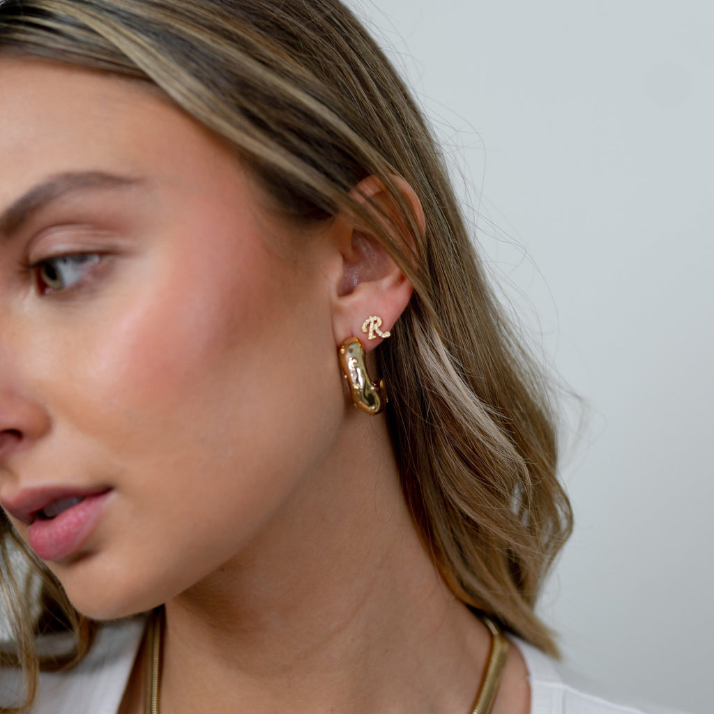 Gold Modern Mold Hoops JEWELRY The Sis Kiss