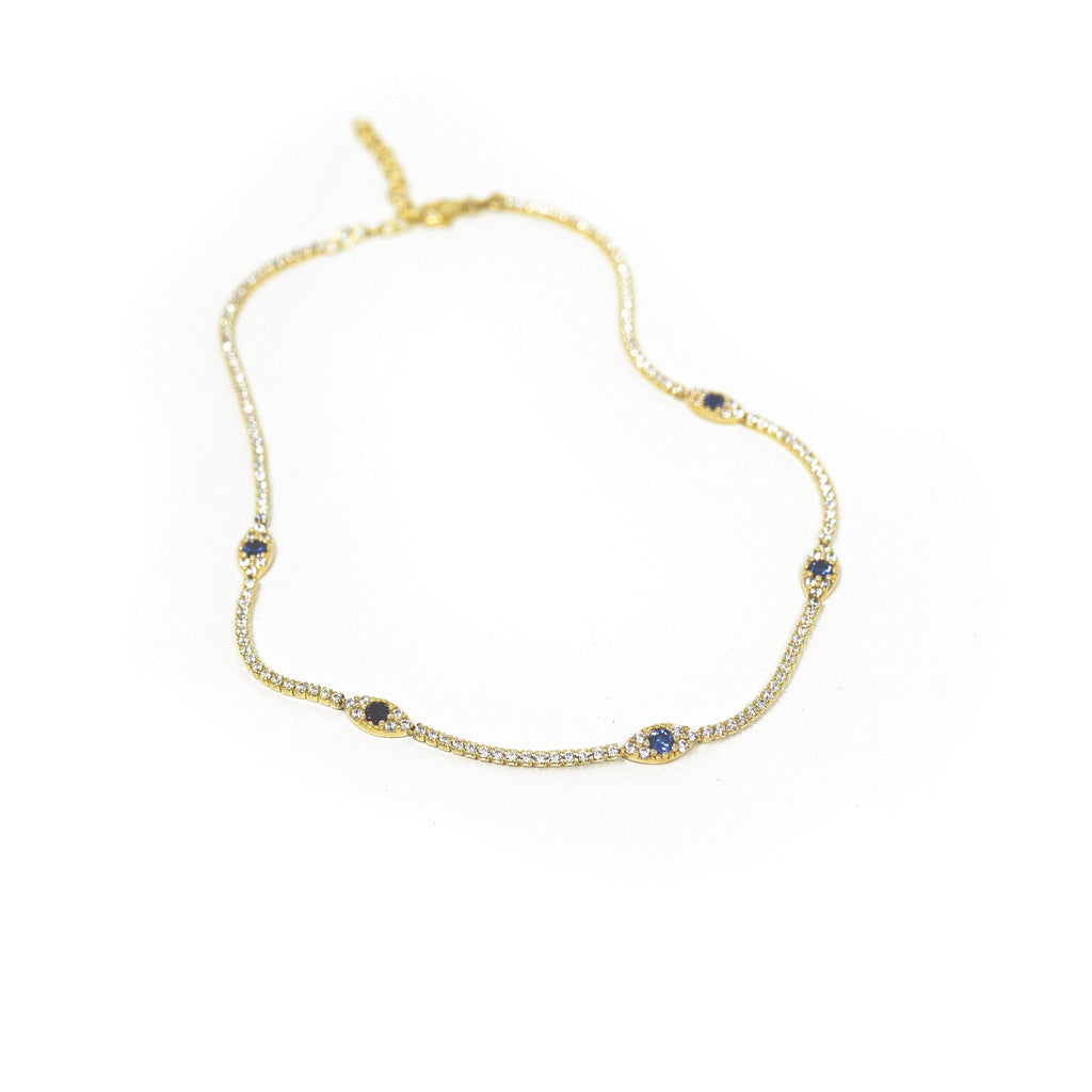 Crystal and Navy Evil Eye Choker JEWELRY The Sis Kiss