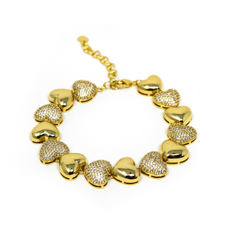 Gold and Crystal Hearts Bracelet JEWELRY The Sis Kiss