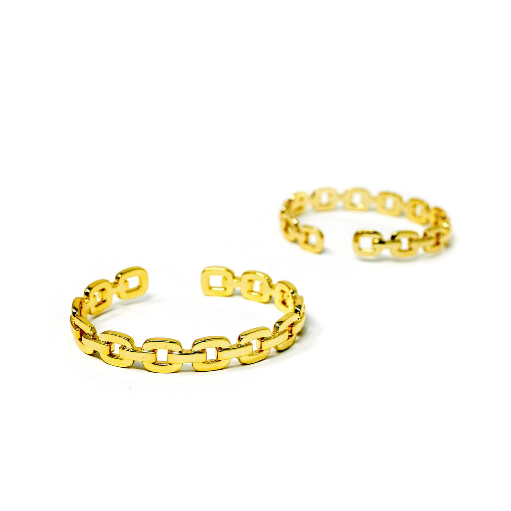 Gold Chain Link Cuff JEWELRY The Sis Kiss Flat Anchor Chain