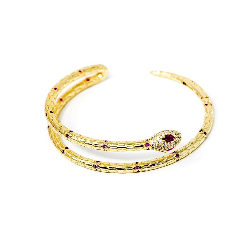 Ruby Red Crystal and Gold Serpent Cuff JEWELRY The Sis Kiss