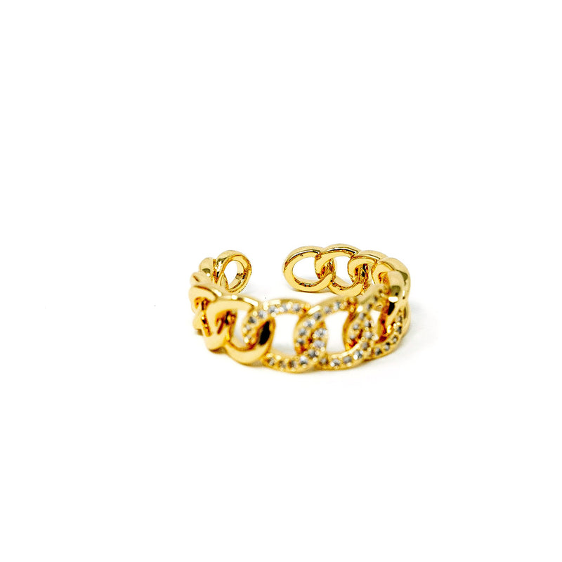 Adjustable Pave Accent Chain Link Ring