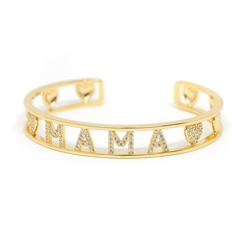 Gold and Crystal Heart Mama Cuff JEWELRY The Sis Kiss