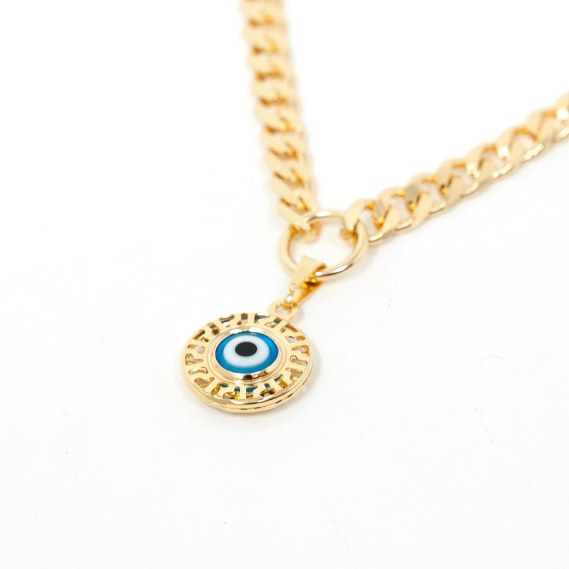 Cuban Chain Link Charm Necklaces JEWELRY The Sis Kiss Evil Eye