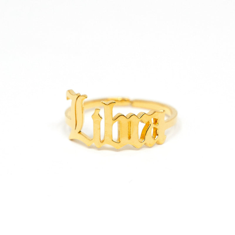 Zodiac Olde English Adjustable Rings JEWELRY The Sis Kiss Libra