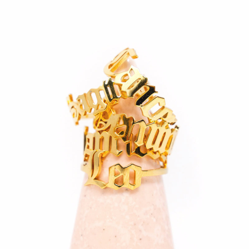 Zodiac Olde English Adjustable Rings JEWELRY The Sis Kiss