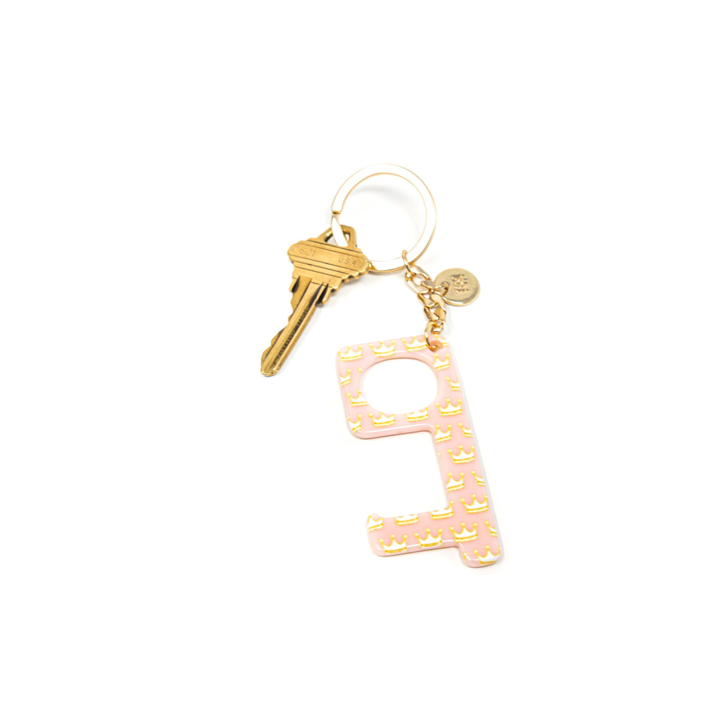 Hands-Free Keychains HOME The Sis Kiss Crown Print in Light Pink