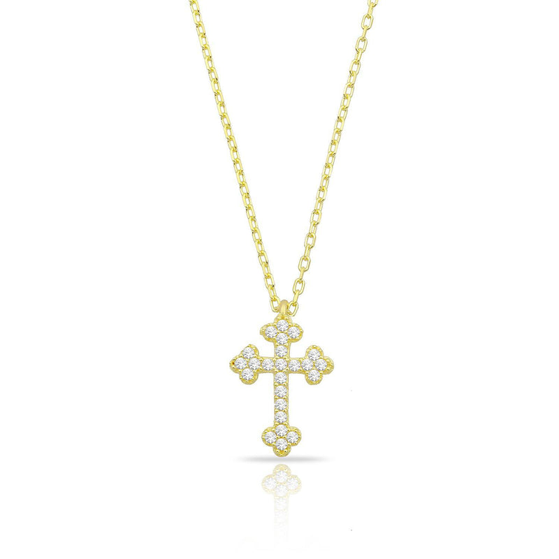 Dainty Budded Cross Necklace JEWELRY The Sis Kiss