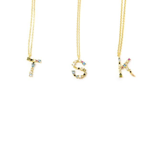 Dainty Jeweled Initial Necklace