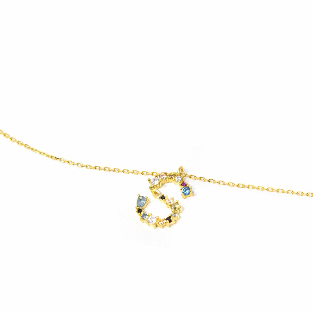 Dainty Jeweled Initial Necklace necklace The Sis Kiss