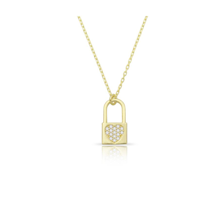 Dainty Lock Pendant Necklace JEWELRY The Sis Kiss