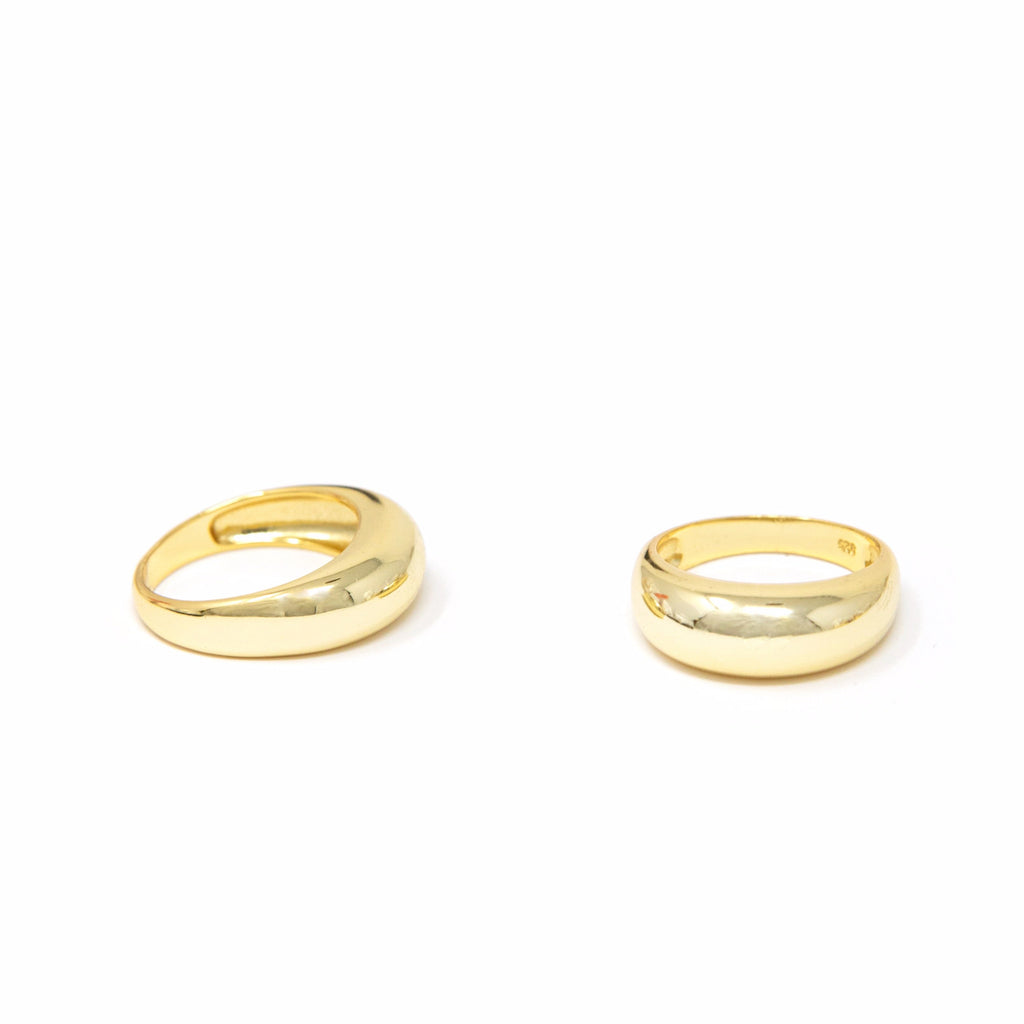 Dome and Twist Gold Rings