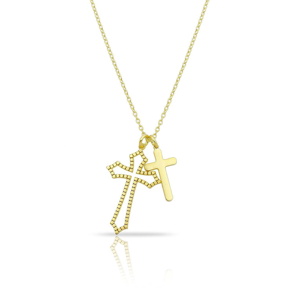 Double Cross Pendant Necklace JEWELRY The Sis Kiss