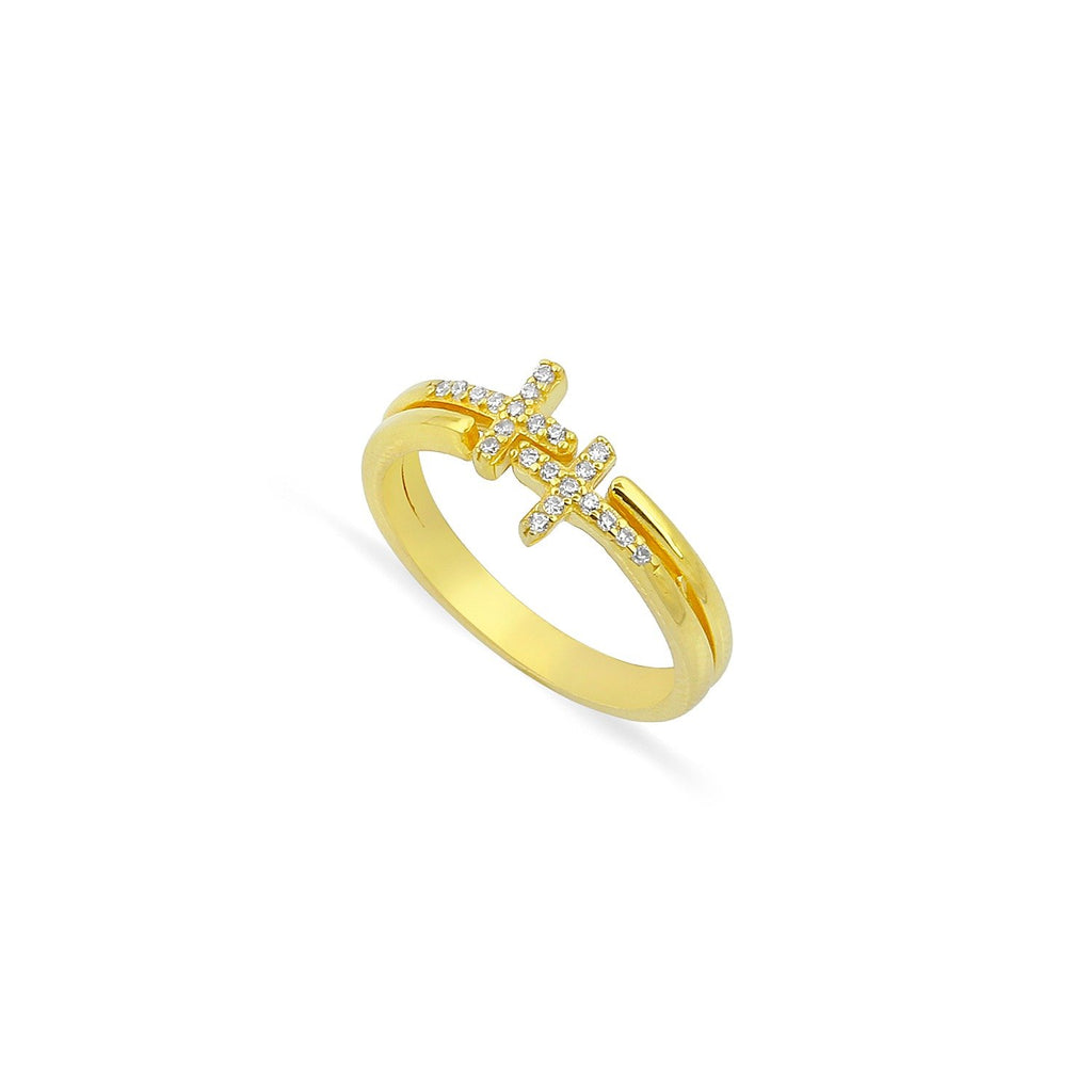 Double Cross Gold Wrap Ring JEWELRY The Sis Kiss