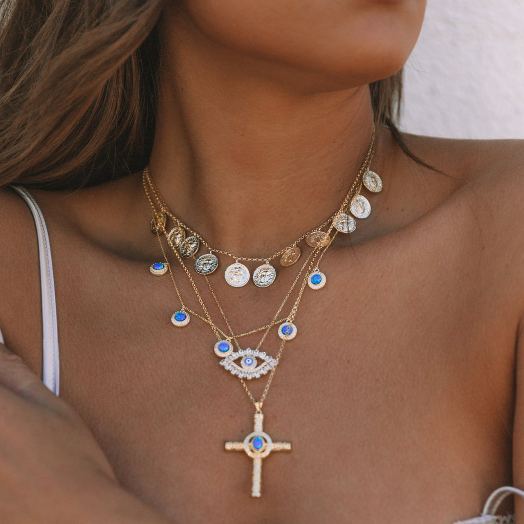 Large Crystal Evil Eye Necklace. Coin Choker and Gold Cross with Opal.