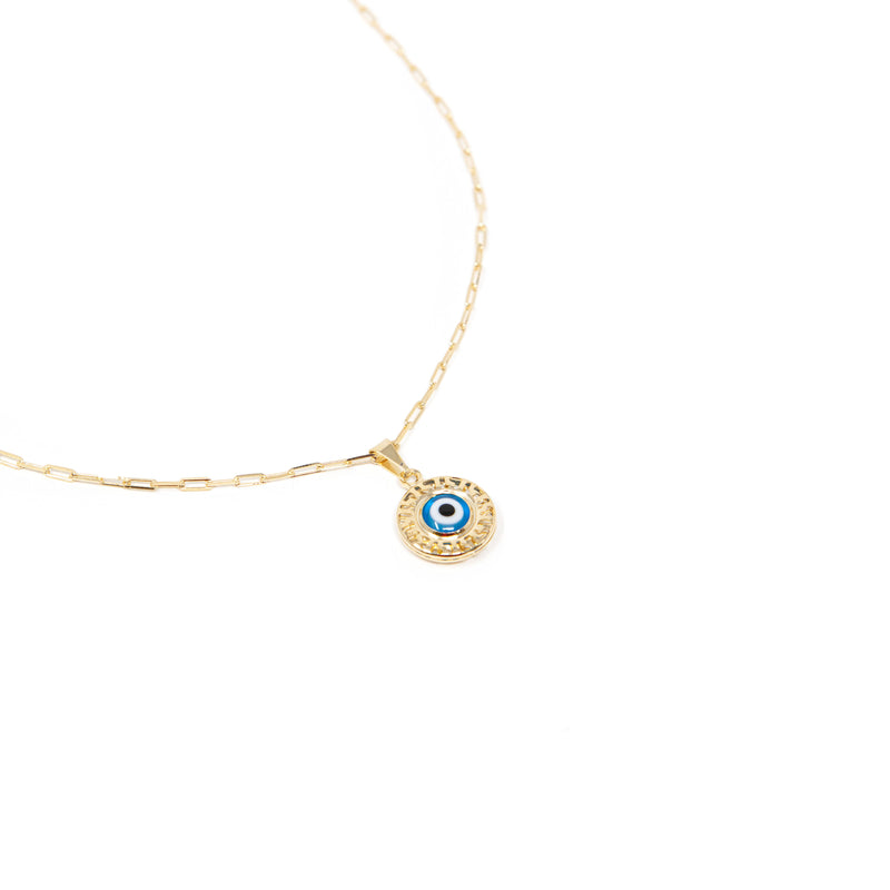 Evil Eye on Chain Link Necklace necklace The Sis Kiss
