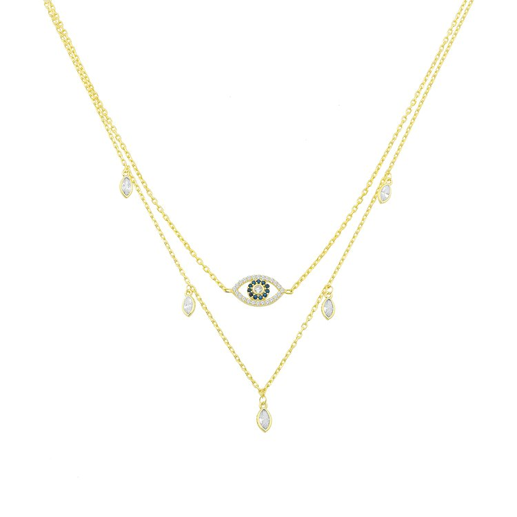 Evil Eye with Crystal Drop Layered Necklace JEWELRY The Sis Kiss