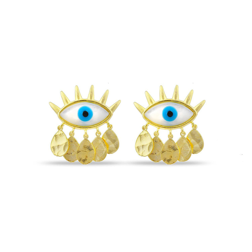 Evil Eye and Hammered Gold Charm Earrings JEWELRY The Sis Kiss
