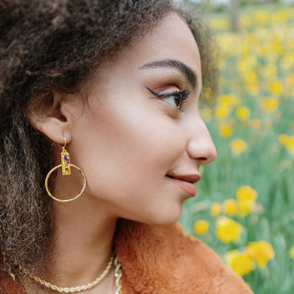 Beaded Square and Gold Hoop Earrings