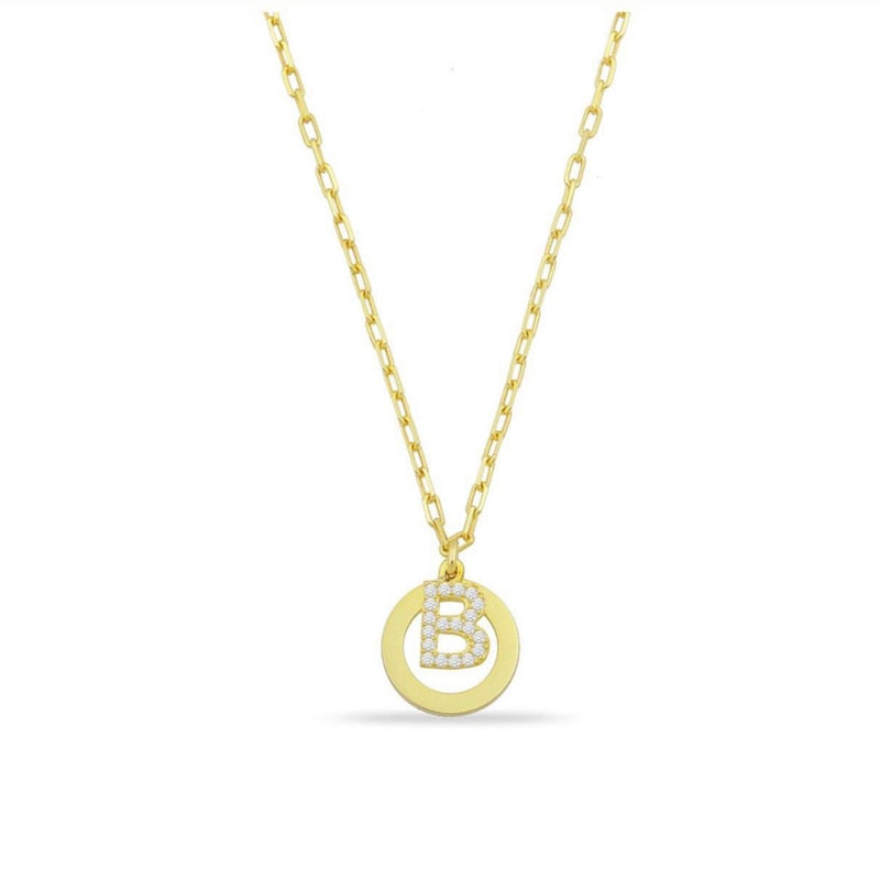 Custom Open Disk and Crystal Initial Necklace JEWELRY The Sis Kiss Gold
