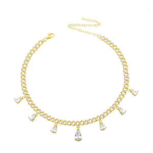 Glam Gal Crystal Drop Choker. A beautiful choker in gold chain with seven drop crystals.