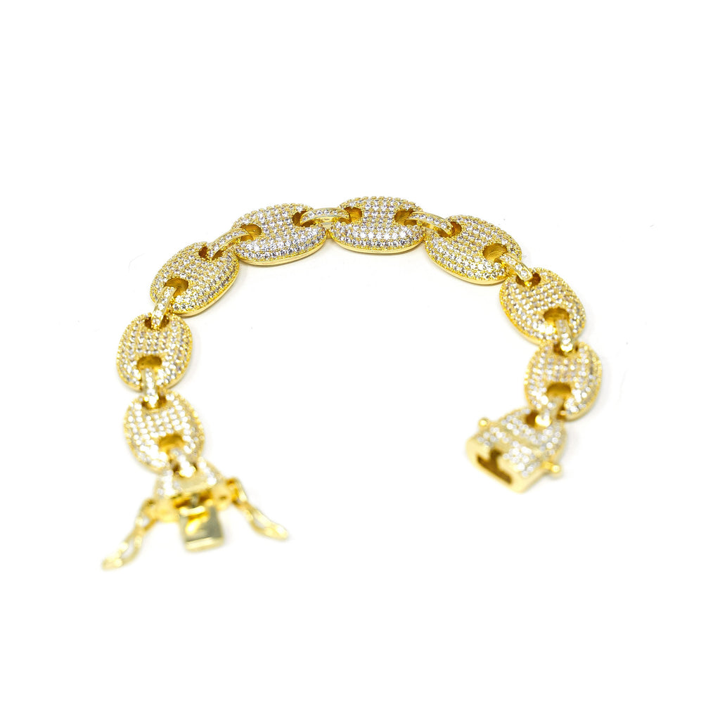 Glam Gold and Crystal Anchor Chain Bracelet JEWELRY The Sis Kiss