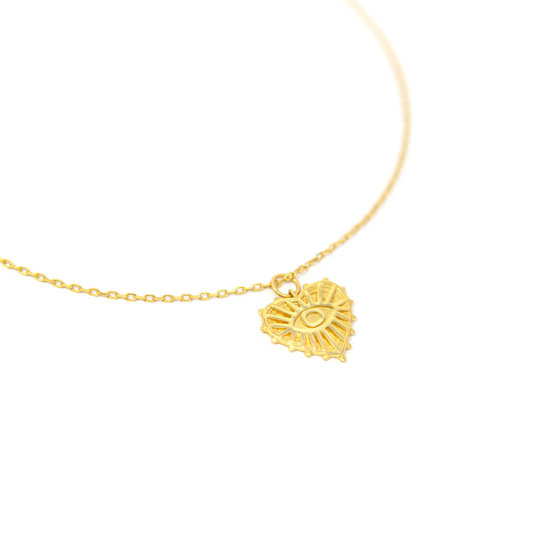 Gold Heart with Evil Eye Pendant Necklace