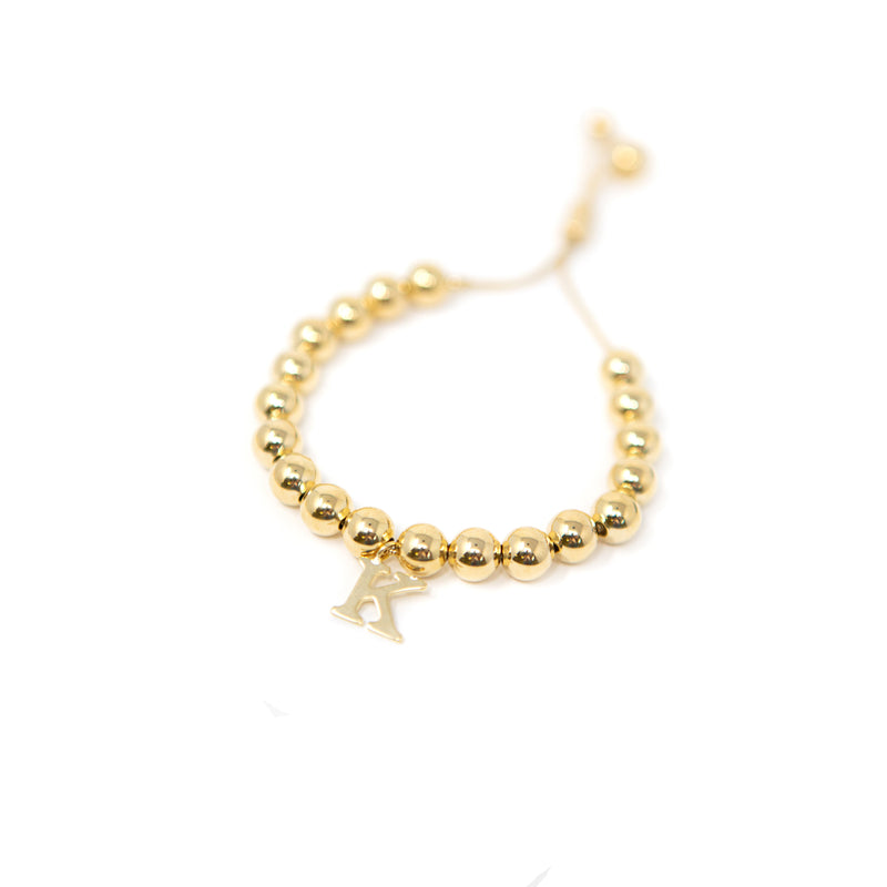 Gold Beaded Adjustable Initial Bracelet JEWELRY The Sis Kiss