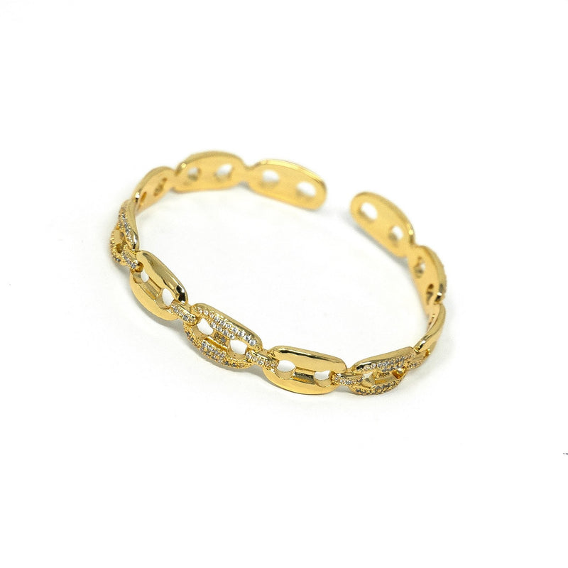 Gold Chain Link Cuff JEWELRY The Sis Kiss Gold and Crystal Anchor Chain