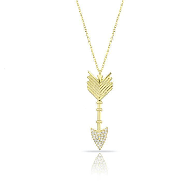 Gold and Crystal Arrow Necklace JEWELRY The Sis Kiss