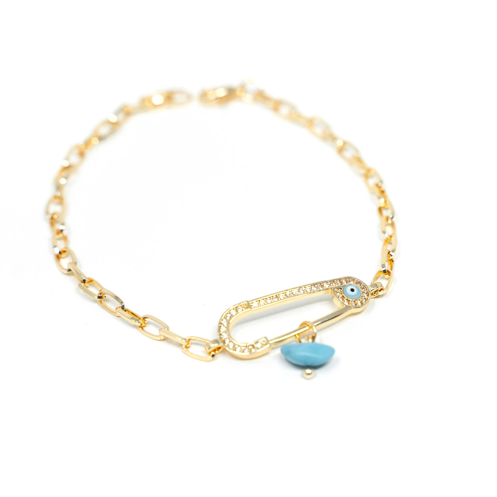 Gold and Turquoise Evil Eye Safety Pin Bracelet JEWELRY The Sis Kiss