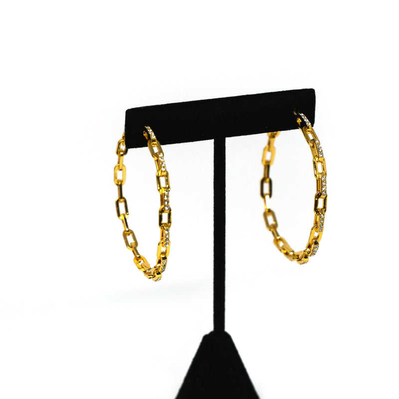 Gold and Crystal Cable Link Hoops JEWELRY The Sis Kiss