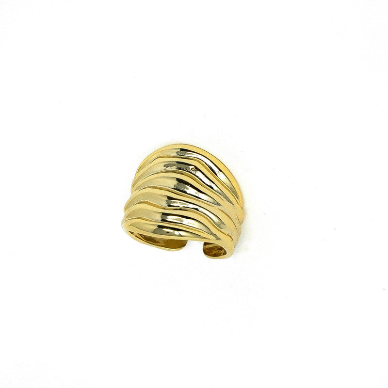 Gold Waves Adjustable Ring JEWELRY The Sis Kiss