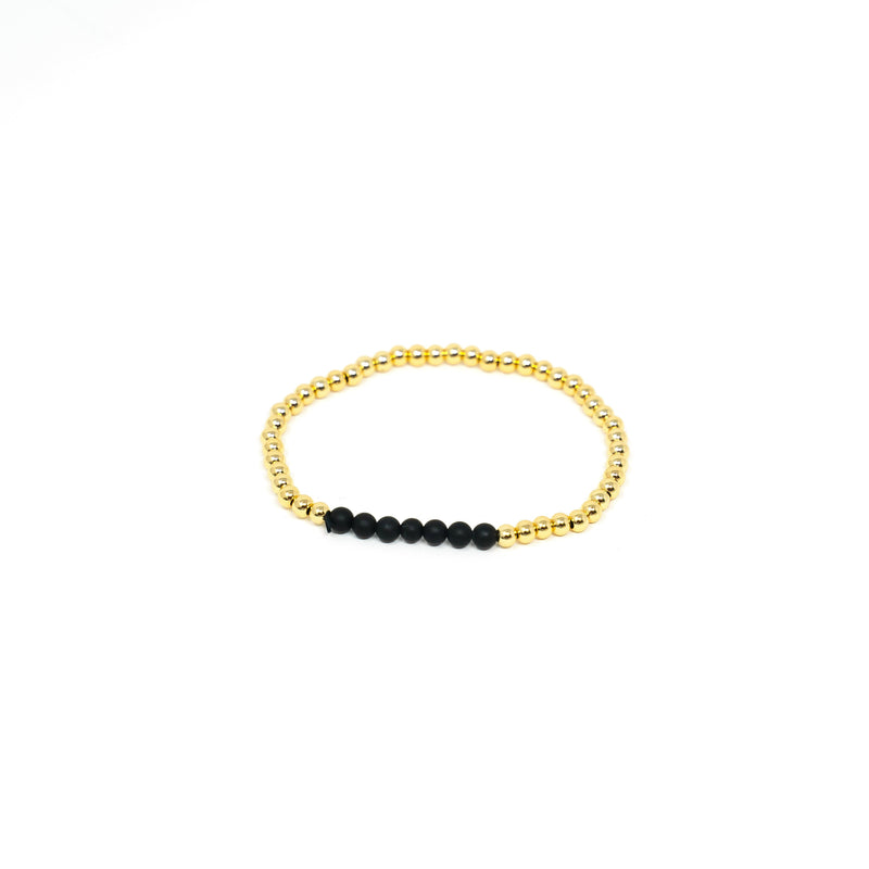 Pearl and Gold Bead Stretch Bracelet JEWELRY The Sis Kiss Gold With Black Accent