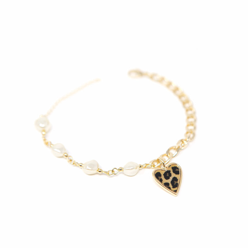 Leopard Heart and Pearl Bracelet