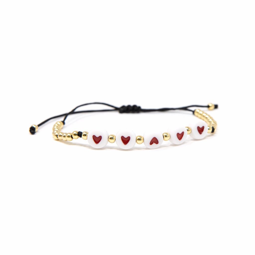 Heart Stretch Beaded Bracelet JEWELRY The Sis Kiss