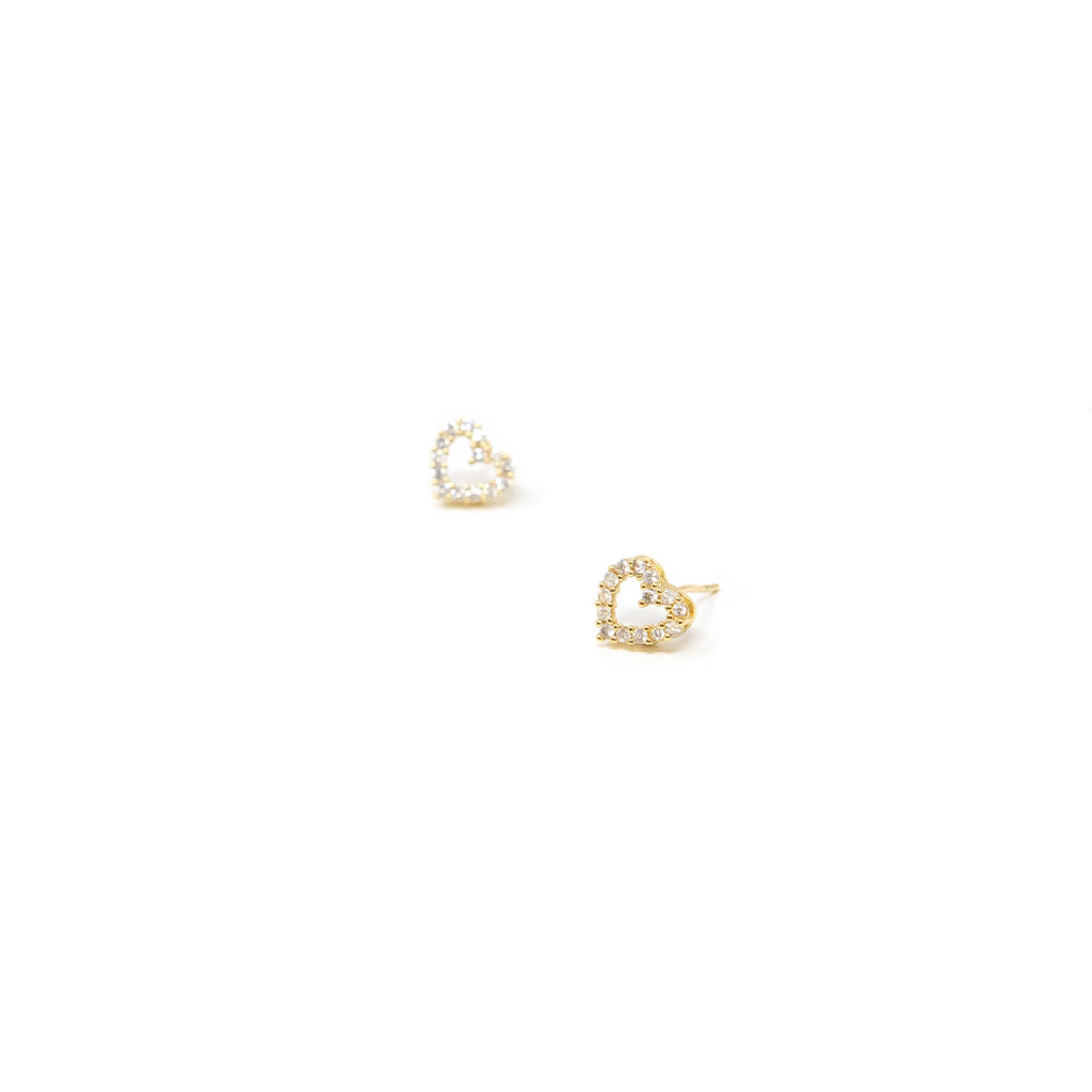 Heart Studs in Gold and Crystal JEWELRY The Sis Kiss