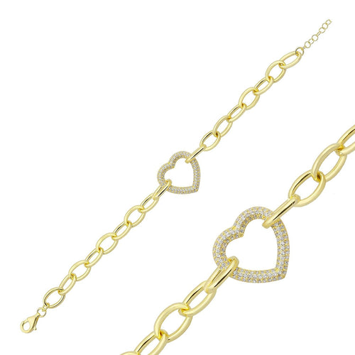 Heart and Oval Link Bracelets JEWELRY The Sis Kiss Heart